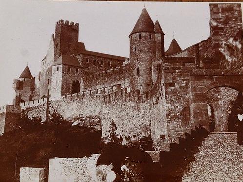 Photographie ancienne 1899 Porte de la barbacane Carcassonne