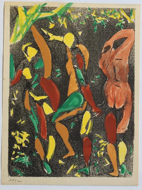 1955 René-Jean CLOT Lithographie originale rehaussée couleur 1/200 Le Couple