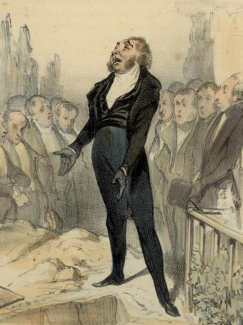 1839 Daumier Les Robert-Macaire Planche n°99 Caricature XIXe coloris époque rare