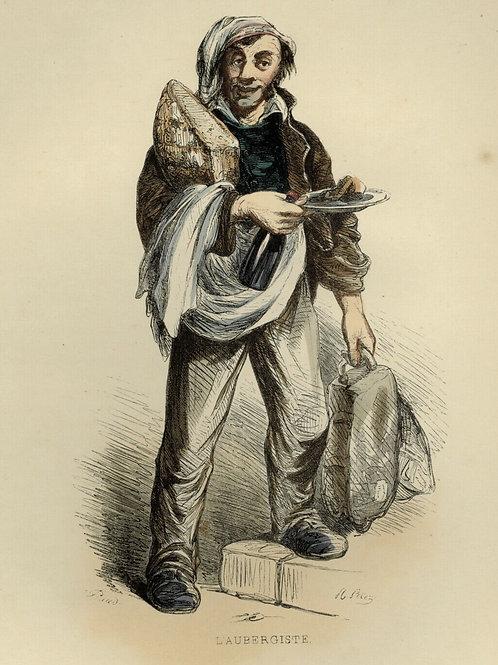 1842 AUBERGISTE RESTAURATEUR Français gravure estampe aquarellée époque