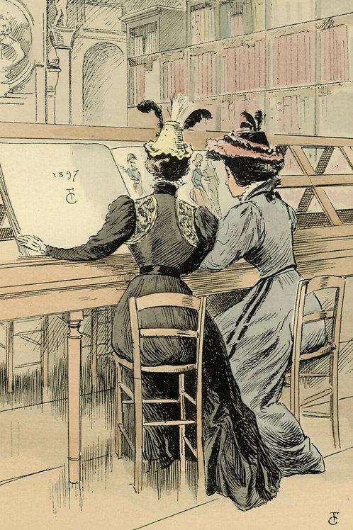 Fr. Courboin Estampe aquarellée époque 1898 mode femme histoire costume n°1