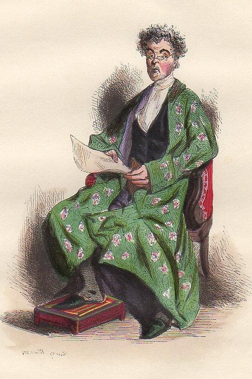 Henri Monnier. Le Sociétaire de la Comédie Française (1840). Aquarellée Gommée