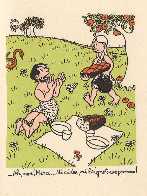 Jean Effel. Adam et Ève. Estampe en couleurs (vers 1955?)
