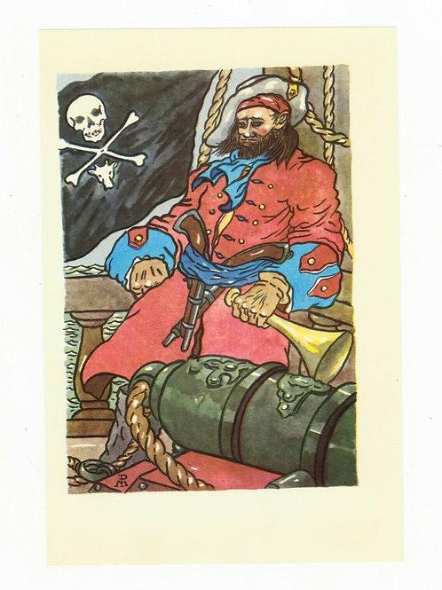 P. de Manceau Illustration couleur offset 1955 Pirate Tête de mort Marin Armes