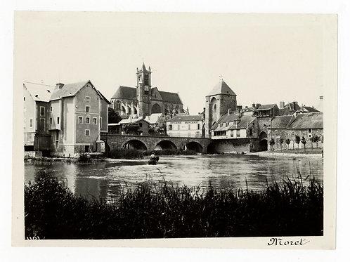 Photographie ancienne vers 1910 Moret sur Loing Seine et Marne pont rivière