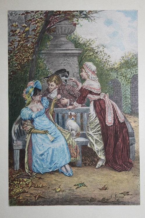 Estampe originale en couleurs d'après L. Kratké (1884). Galanterie du Directoire