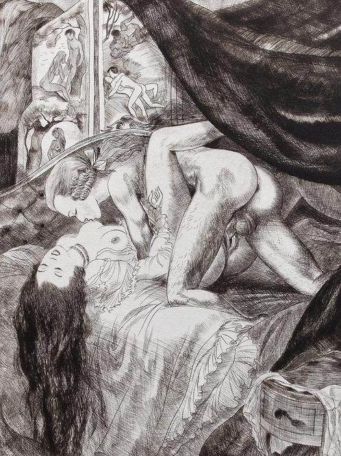 L'Adam lascif ou Lettres à la Marquise (1950). 19 pointes sèches Gaston Barret
