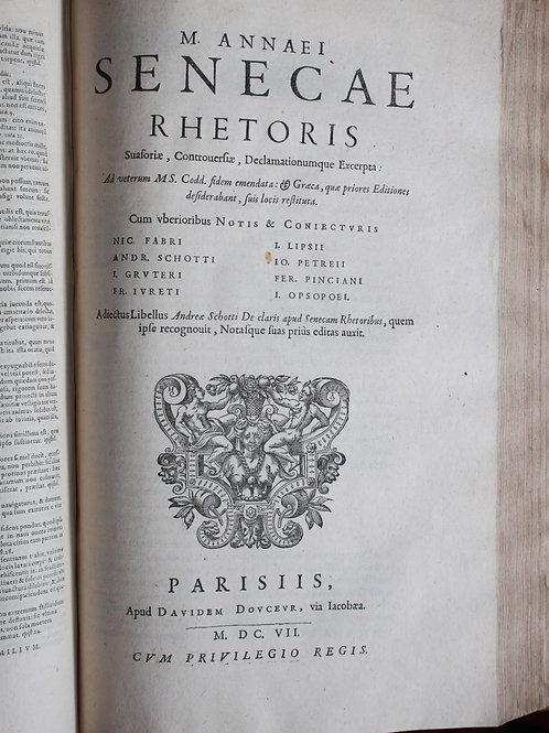 Les Œuvres de Sénèque en latin (1607-1613). Reliure d'époque
