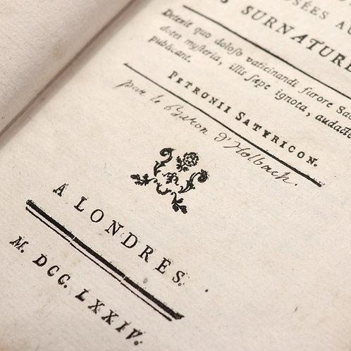 Baron d'Holbach Le Bon-Sens ou Idées Naturelles opposées aux Idées Surnaturelles