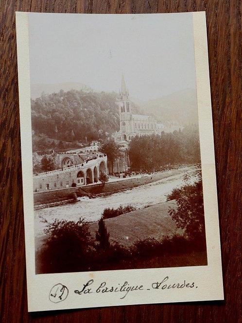 Photographie ancienne 1899 Lourdes La Basilique