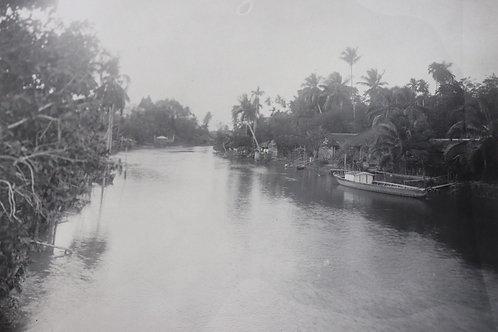 Photographie ancienne 1937 Viêt Nam Vinh Long Rach Gai Fleuve Mékong 22 x 17 cm