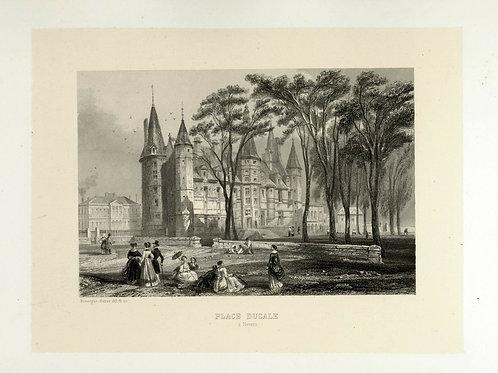 1856 Gravure sur acier tirée sur chine contrecollé Nevers Place Ducale