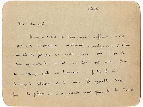 Carte-lettre autographe de Remy de Gourmont à Octave Uzanne