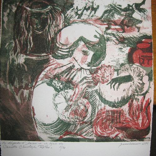 Eau-forte originale en couleurs par Jeanne Esmein (1975). Très rare. 12 ex.