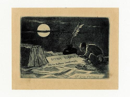 1888 Henri Guérard Octave Uzanne Carte de voeux artistique rare