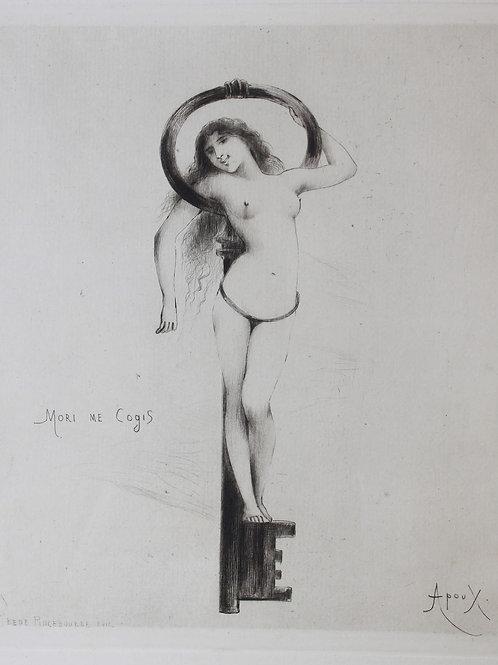 Eau-forte originale par Apoux (vers 1880). Mori Me Cogis