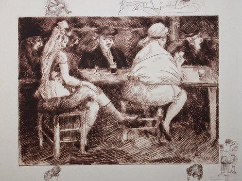Images secrètes de Paris par Mac Orlan (illustrations d'Assire). Aquarelle