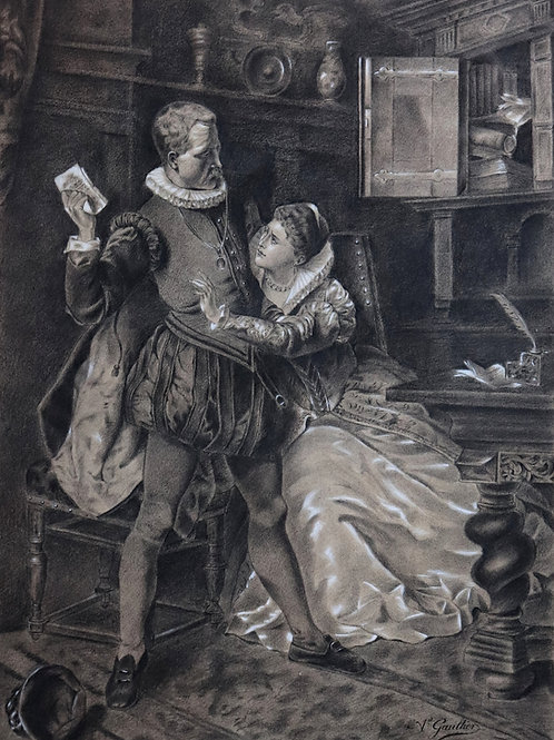 Superbe fusain dessin original signé et daté Gaultier 1879
