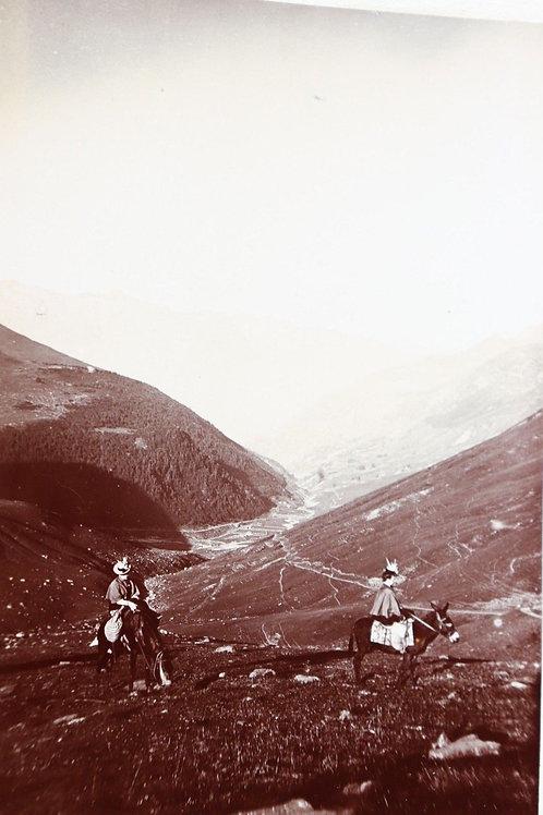 Photographie ancienne 1899 Vallée de Barèges route Lac Bleu Pyrénée femmes ânes