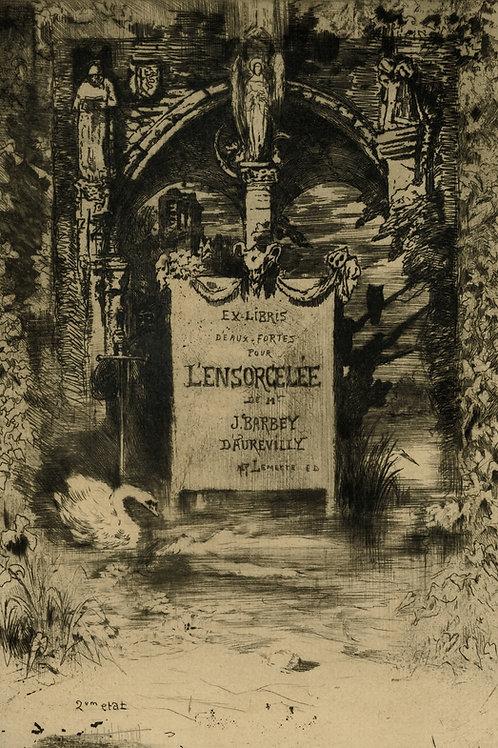 Félix Buhot. Barbey d'Aurévilly. L'Ensorcelée (1888). Ex libris eau-forte rare