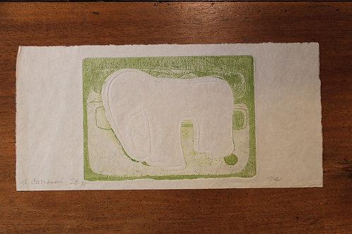 1975 Jeanne Esmein Estampe originale  n°1/12 Le Carousselle