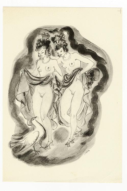 Estampe érotique par Schem (Raoul Serres). Vers 1947. N°6