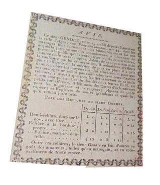 Le sieur Gendre relieur à Agen (vers 1800 ?) - Une étiquette de relieur avec ses tarifs.