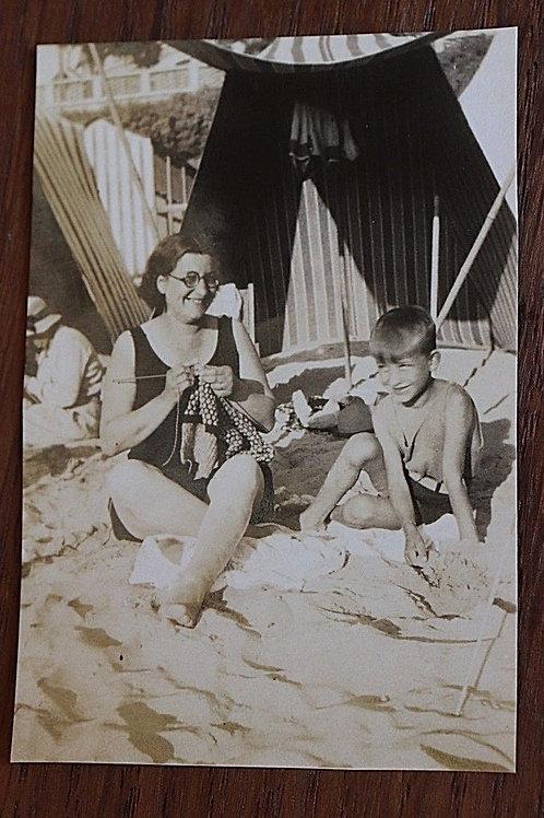 Photo ancienne Plage Fouras Charente-Maritime 1931 Mode rétro enfant Tricot