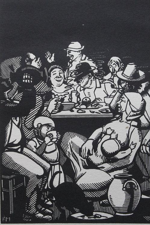 Gravure bois tirage d'époque 1917 Frans Masereel