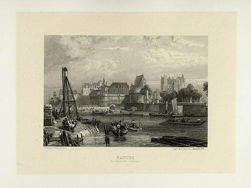 1856 Bords de Loire Gravure sur acier tirée sur chine contrecollé Nantes