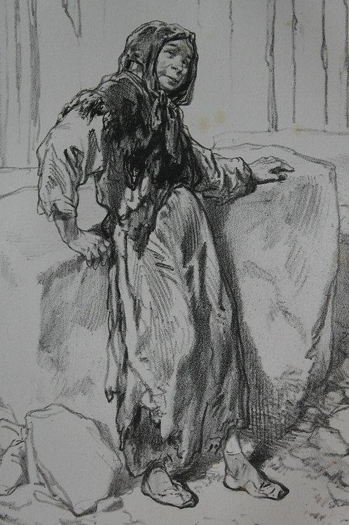 GAVARNI Lithographie originale série PHYSIONOMIES PARISIENNES - RODEURS FEMME