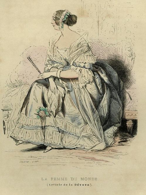 1842 FEMME DU MONDE DÉVOTE Français gravure estampe aquarellée