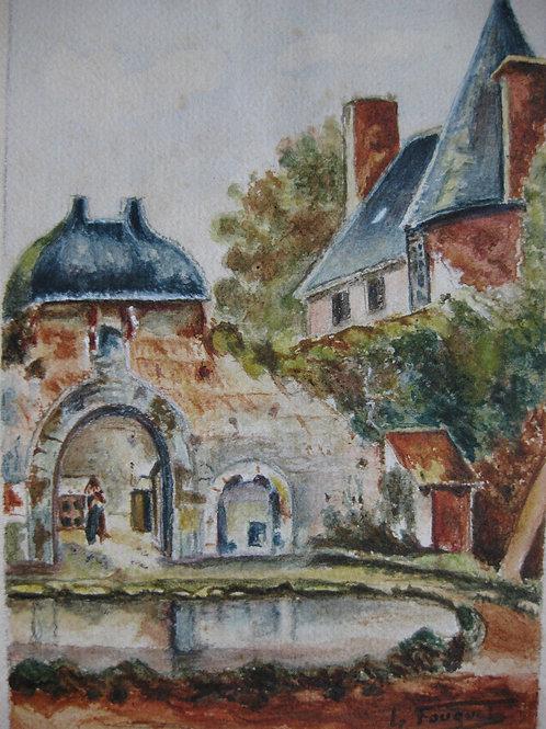 Aquarelle originale La Chaslerie Orne Le Fouquet Basse-Normandie