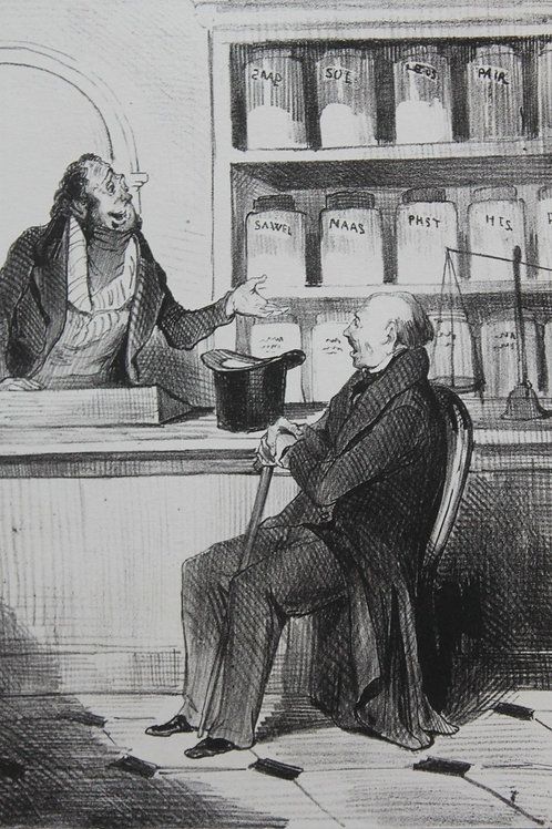 Lithographie vers 1840 par Honoré Daumier. Les Robert-Macaire