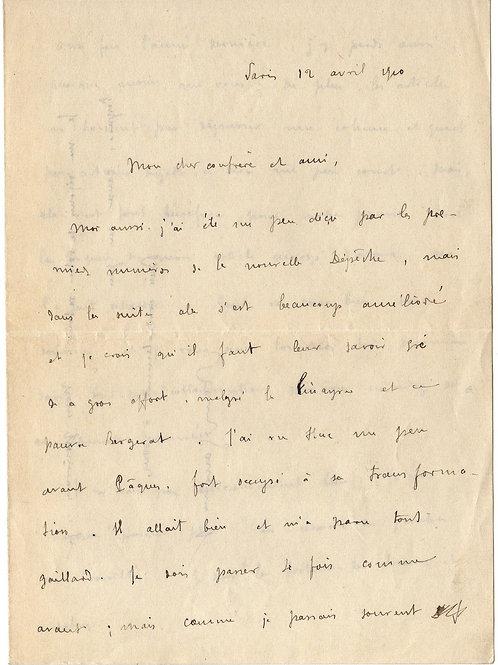 Lettre autographe de Remy de Gourmont à Octave Uzanne (1910)