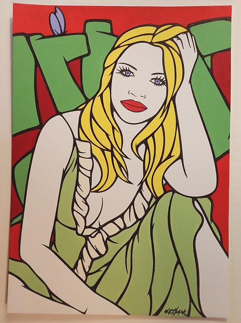 """Sophie Dumont. Dessin original sexy 29,5 x 21 cm acrylique et stylo """"SANDRA"""""""