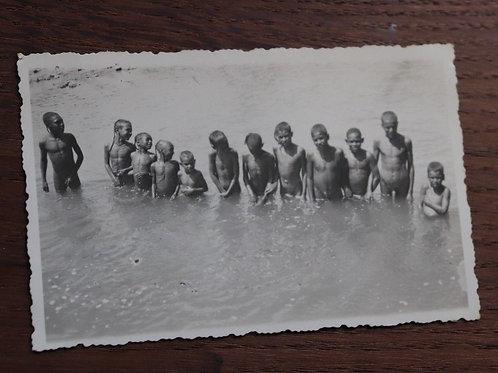 Photo ancienne vers 1930 Maroc enfants baignade dans l' Oued