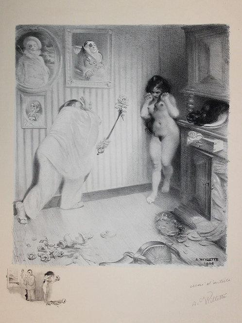 1917 Lithographie Les Sept Péchés Capitaux La colère Adolphe Willette