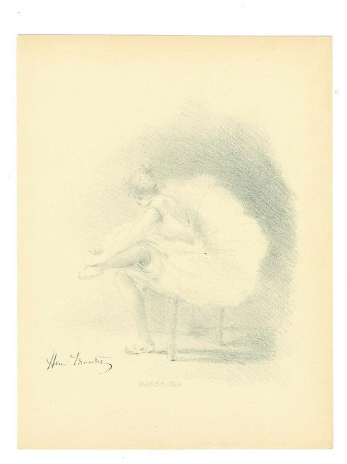1894 HENRI BOUTET Lithographie femme danseuse woman curiosa 1/400 ex.