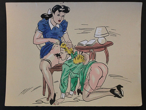 Aquarelle originale érotique vintage (vers 1950-1955). N°14