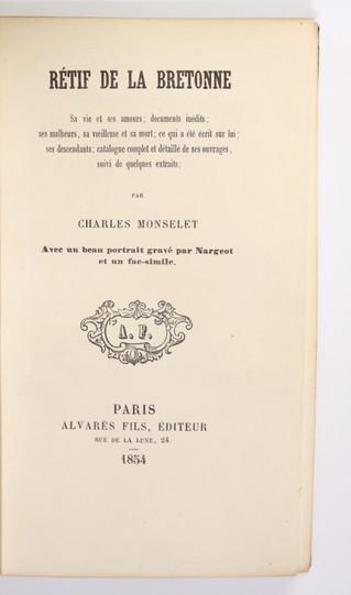 Petit amusement bibliographique autour de Rétif de la Bretonne et de Charles Monselet (1854-1858). D
