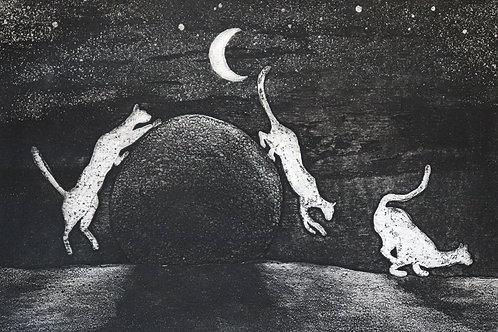 """Estampe originale contemporaine signée en E/A """"Les chats d'Agathe"""""""