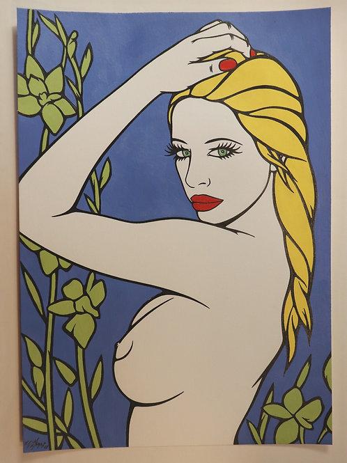 """Sophie Dumont. Dessin original sexy 29,5 x 21 cm acrylique et stylo """"MEGHAN"""""""