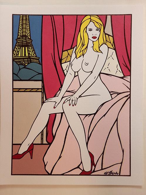 """Sophie Dumont. Dessin original sexy 27 x 20 cm acrylique et stylo """"BAGATELLE"""""""
