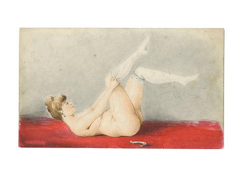 Charmant petit tableau fin XIXe - début XXe s. 1900 Femme à l'enfilage des bas