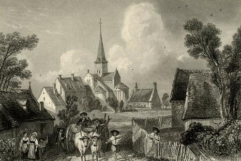 1856 Gravure sur acier tirée sur chine contrecollé St Amand Cher
