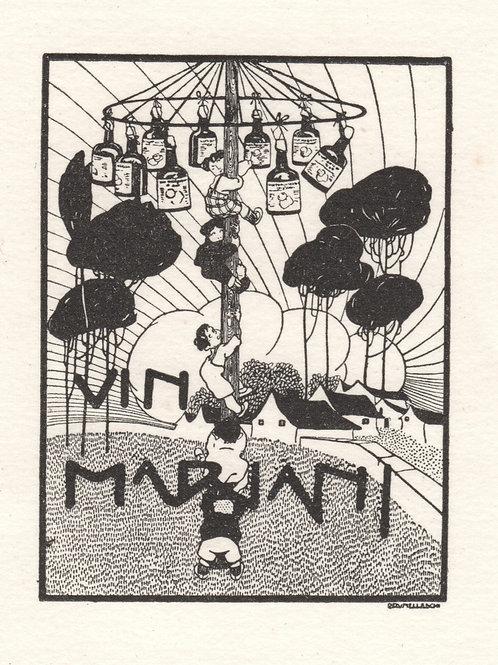 Umberto Brunelleschi. Vignette pour le Vin Mariani (1911). 1/25 ex. sur Arches