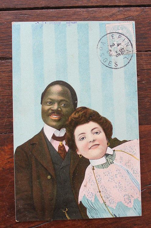 CPA fantaisie couleur couple femme blanche homme noir élégant 1905