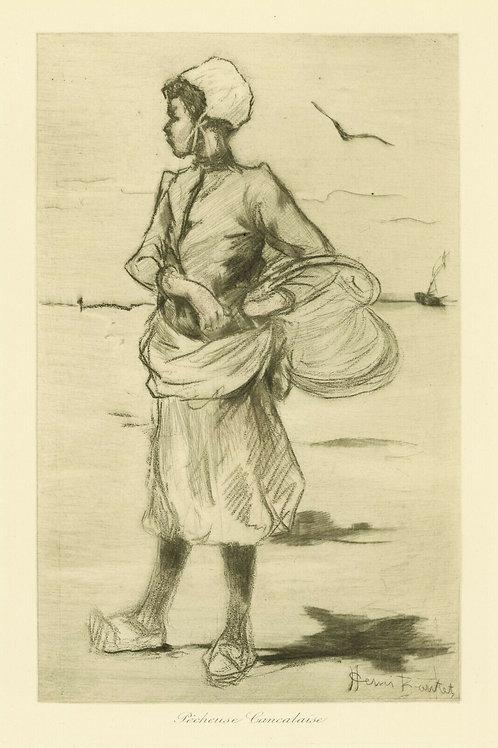1894 HENRI BOUTET Pointe sèche PÊCHEUSE CANCALAISE féminin etching 1/400 ex.