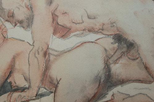Dessin original érotique. Aquarelle, crayon, pastel (XXe s.) Sensualité
